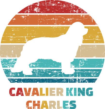 Cavalier King Charles silhouette vintage and retro Illustration