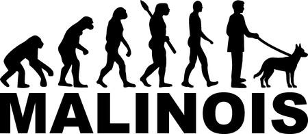 Évolution malinoise avec silhouette et nom Vecteurs