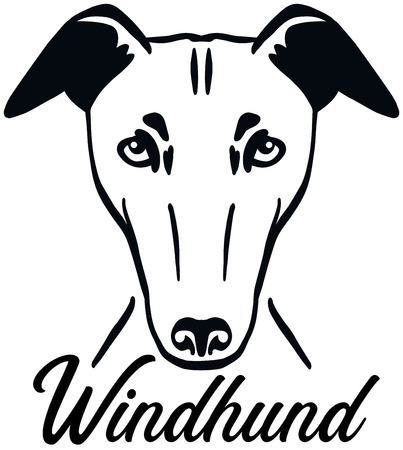 Greyhound head black with name german