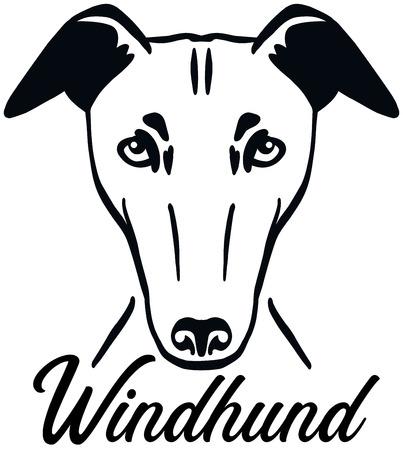 Greyhound head black with name german