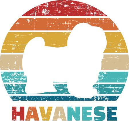 Havanese silhouette vintage and retro