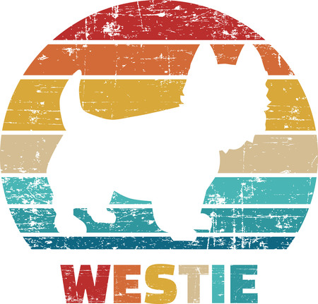 Westie silhouette vintage and retro