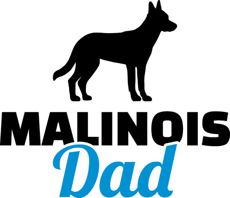Malinois dad in blue with silhouette