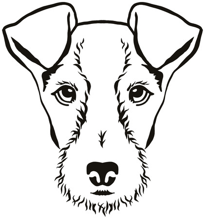 Fox Terrier head in black