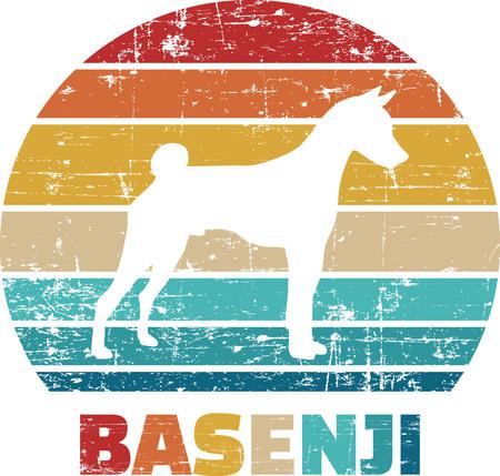 Basenji silhouette vintage and retro
