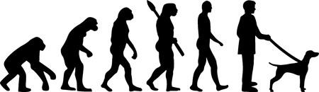 Vizsla evolution with dog silhouette