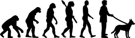 Malinois dog evolution with silhouette Illustration