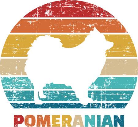 Pomeranian silhouette vintage and retro Reklamní fotografie - 125244288