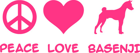 Peace, Love, Basenji slogan pink