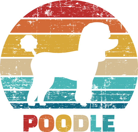 Poodle silhouette vintage and retro