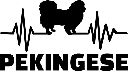 Heartbeat frequency with Pekingese dog silhouette