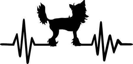 Heartbeat frequency with Chinese Crested dog silhouette