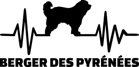 Heartbeat frequency with Pyrenees Shepherd dog german Ilustrace