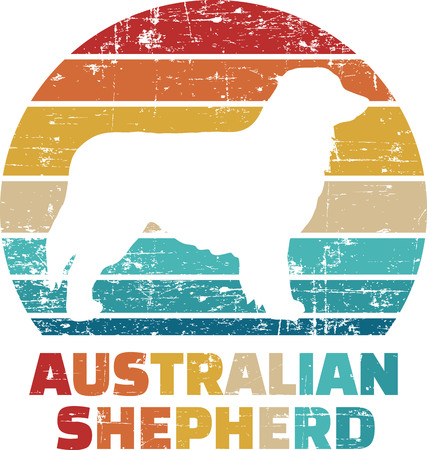 Australian Shepherd silhouette vintage and retro