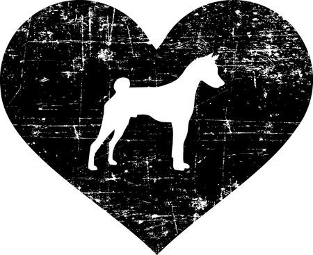 Basenji silhouette in black heart