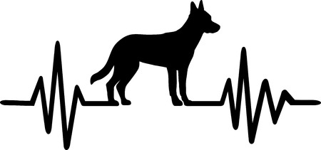 Heartbeat frequency with Malinois dog silhouette Ilustrace