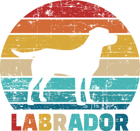 Labrador silhouette vintage and retro