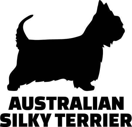 Australian Silky Terrier silhouette in black with name