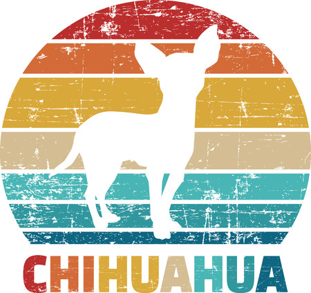 Chihuahua silhouette vintage and retro