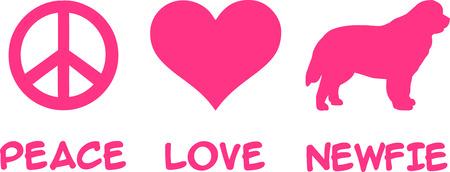 Peace, Love, Newfie slogan pink Illustration