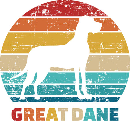 Great Dane silhouette vintage and retro