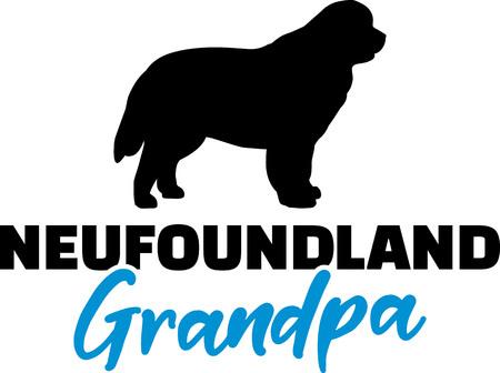 Newfoundland Grandpa silhouette in black Illustration
