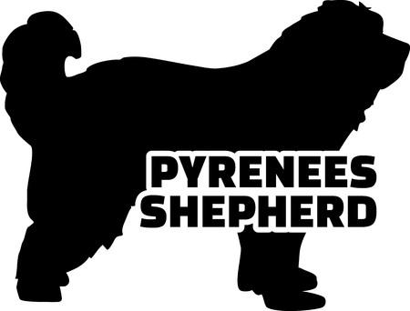Pyrenees Shepherd silhouette black with name