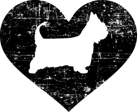 Australian Silky Terrier silhouette in black heart Illusztráció