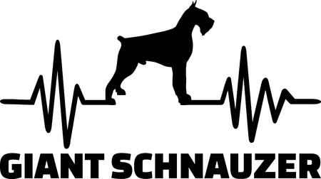 Heartbeat frequency with Giant Schnauzer dog silhouette Ilustrace