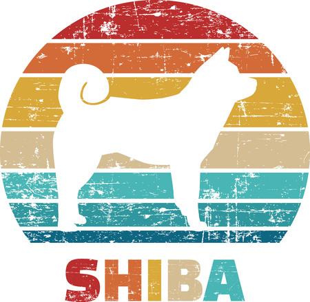 Shiba silhouette vintage and retro Reklamní fotografie - 125243676