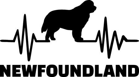 Fréquence de battement de coeur avec la silhouette de chien de Terre-Neuve