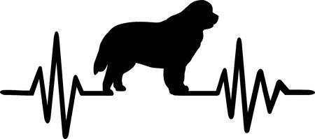 Fréquence de battement de coeur avec la silhouette de chien de Terre-Neuve Vecteurs