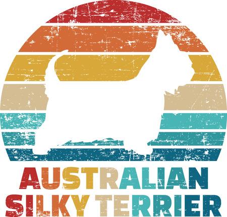 Australian Silky Terrier silhouette vintage and retro