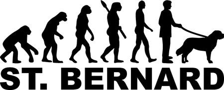 Saint Bernard dog evolution with silhouette