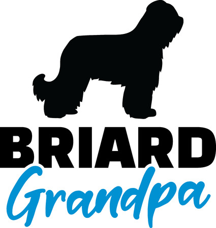 Briard Grandpa silhouette in black