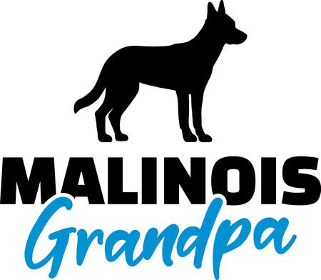 Malinois Grandpa silhouette in black