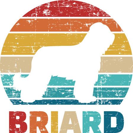 Briard silhouette vintage and retro Reklamní fotografie - 125243445