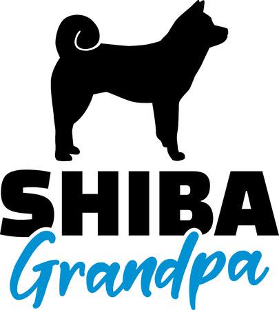 Shiba Grandpa silhouette in black Illustration