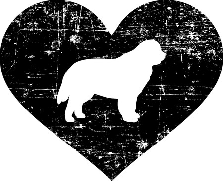 Newfoundland silhouette in black heart Illustration
