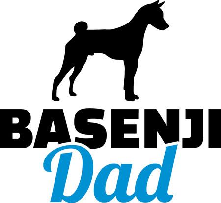 실루엣이 있는 파란색의 Basenji 아빠