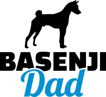 Basenji dad in blue with silhouette