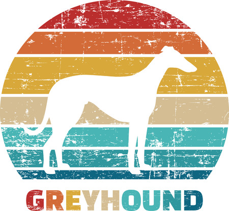 Greyhound silhouette vintage and retro Ilustrace