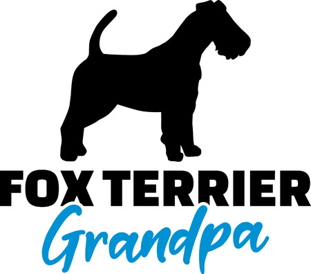 Fox Terrier Grandpa silhouette in black