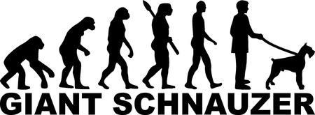 Giant Schnauzer evolution with name and silhouette