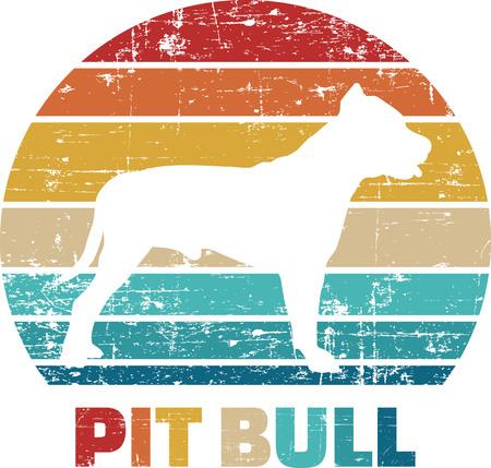 Pitbull silhouette vintage and retro Reklamní fotografie - 125242988