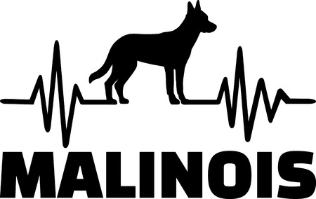 Heartbeat frequency with Malinois dog silhouette Illustration
