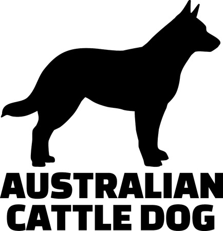 Australian Cattle Dog silhouette in black with name