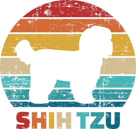 Shih Tzu silhouette vintage and retro