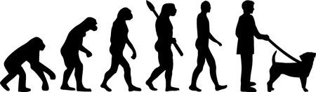 Puggle dog evolution with silhouette Illustration