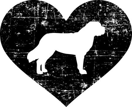 Saint Bernard silhouette in a black heart